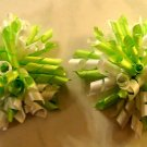 NEW 2 GIRLS NEON GREEN WHITE KORKER HAIR BOWS CLIPPIES