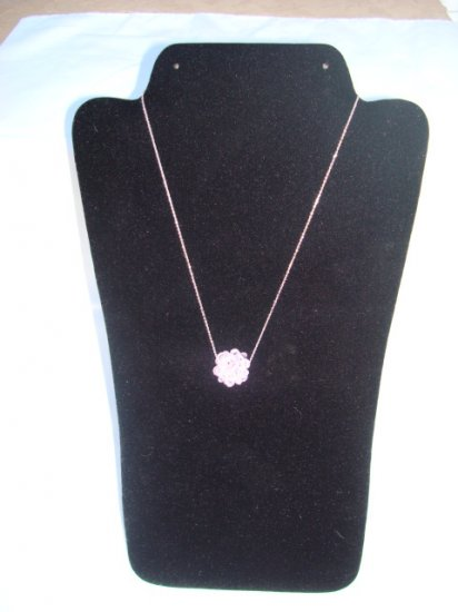 "Swarovski Crystal Necklace on 18"" Sterling Silver Chain Pink"