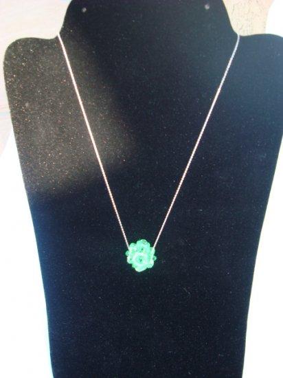 "Green Swarovski Necklace on 18"" Sterling Silver Chain"