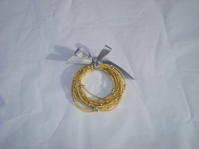 Gold Bracelets with Silver Balls