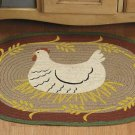 Primitive Country Hen on Nest Braided Rug Chicken NEW