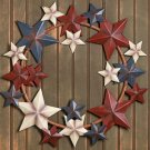 Primitive Country Americana Metal Barn Star Wreath