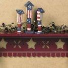 Primitive Country Americana Barn Red Wall Shelf Star Cutouts