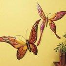 1970s Retro Giant Metal Butterflies Set of 2 Wall Art Decor