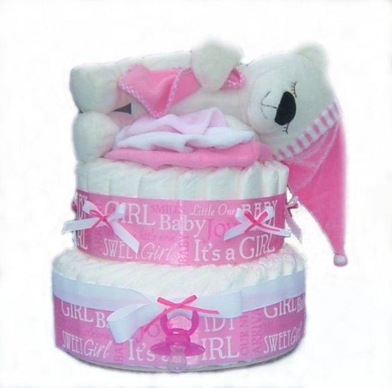 Pink Sleepy Bear Diaper Cake -- SWEET CHEEKS GIFTS