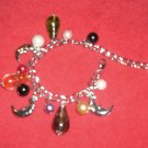 Crystal drops with moon charms bracelet