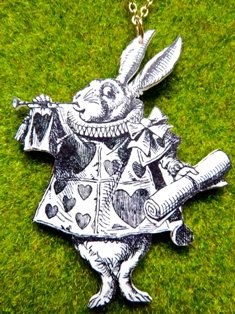White Rabbit on Trumpet Necklace