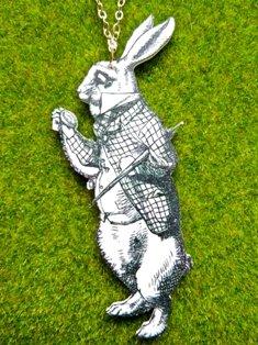 Worried White Rabbit Necklace