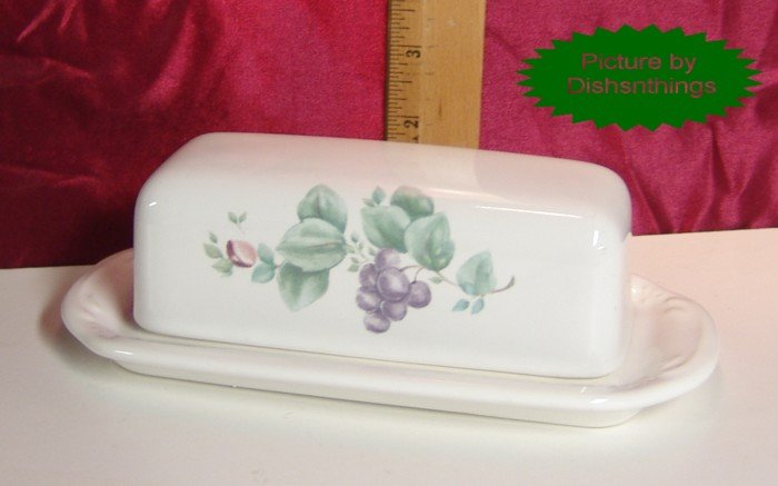 Pfaltzgraff GRAPEVINE 2pc Lidded Butter Dish MINT USA!