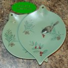 Pfaltzgraff WINTERWOOD 2 Ornament Shape Candy Plate NOS