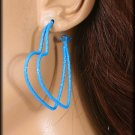 Hoop Heart  Earrings 3 pairs Color Blue /Silver $4.99 Free Shipping