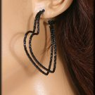 Hoop Heart  Earrings 3 pairs Color Black /Silver $4.99 Free Shipping