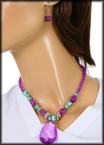 Turquoise and Acrylic  Necklace Set Purple $6.99 free shipping brand My Style