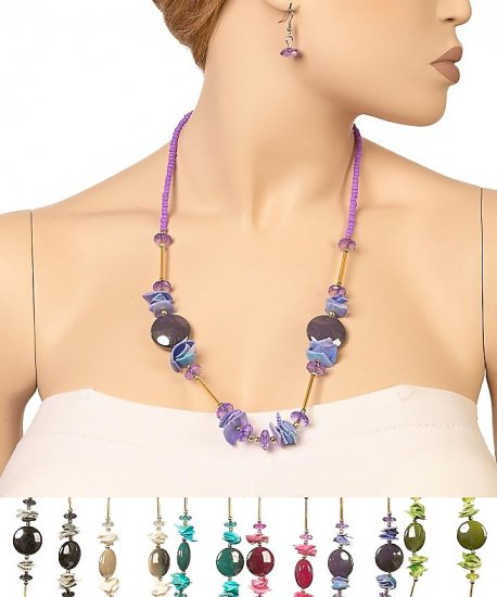 CRYSTAL SHELL STONE Necklace Set GREEN $6.99 free shipping brand My Style