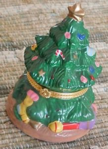 Ceramic Christmas Tree Trinket Jewelry Box