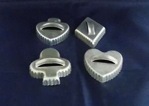 4 VTG Aluminum Cookie Cutters- Playing card symbols- Heart, Diamond, Spade, Club