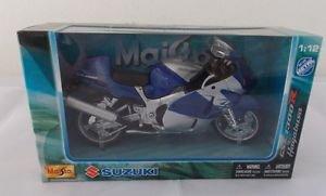 Maisto 1:12 Motorbike Model Die Cast Model Suzuki GSX 1300R Hayabusa Blue-Silver