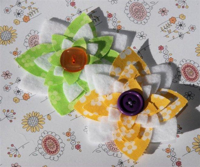 Fabric and Felt Flowers - Set of 2