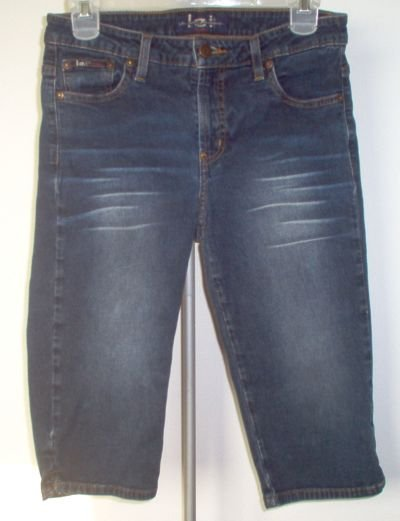 LEI L.E.I. sz 7 capri whisker wash jean shorts stretch