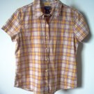 BRAND NEW Abercrombie and Fitch yellow plaid short sleeved shirt size medium NWOT