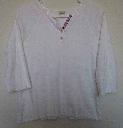 CHRISTOPHER AND BANKS white ribbed 3/4 sleeve top size Large EXCELLENT CONDITION