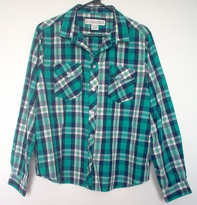 long sleeved l/s green blue plaid JOAN HARPER button up shirt size 18 in like new