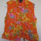 JONES NEW YORK orange hawaiian floral tank size large LIKE NEW CONDITION