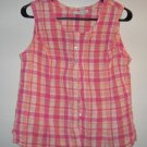 LIKE NEW SONOMA button up crinkle tank peach pink size large
