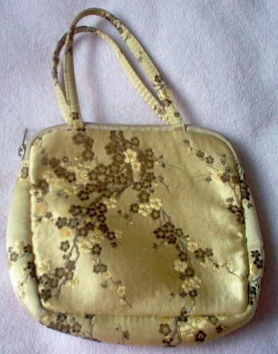 Fashion Express Original gold handbag bag purse floral in excellent condition