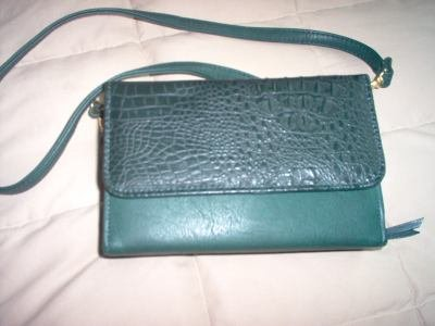 Koltov faux alligator purse with adjustable removable straps and multiple pockets