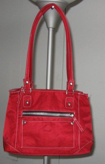 red canvas handbag bag purse multi pocket in great condition