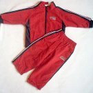 KRU 2T red zip up jacket pants oufit set athletic jogging