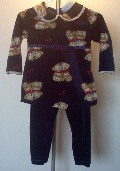 GORGEOUS Tumble Bears outfit set two piece 18 months blue in excellent condition