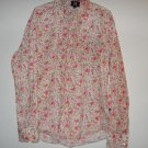 Tommy Hilfiger pink floral top long sleeved button up size Large