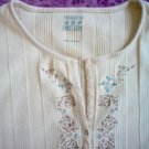 Faded Glory cream ribbed stretch decorated tagless shirt size large extra large