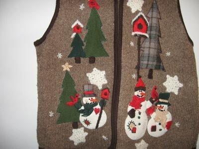 Victoria Jones brown country snowmen snowflake vest size large