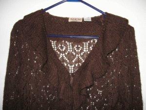 LIKE NEW MKM Designs brown sweater ruffle size medium loose knit