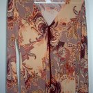 MKM designs paisley asymmetrical fall tunic top gathered size large