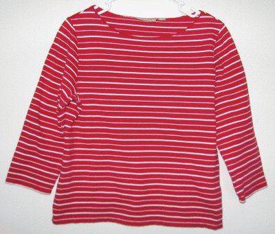 CROFT AND BARROW maroon striped top size Med large like new