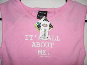 girls juniors brand new David and Goliath pink tank All About Me NWT size medium large