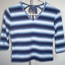 MKM designs blue striped tie shirt 3/4 sleeve size large medium