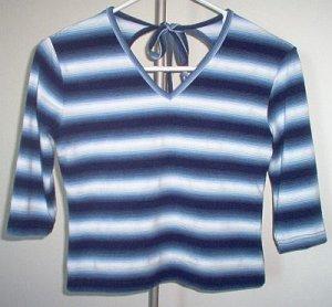 MKM designs blue striped tie shirt 3/4 sleeve size large medium