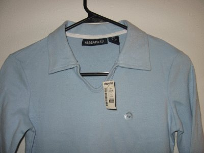 brand NEW Aeropostale ice blue long sleeve collar top size XS NWT