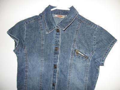 snap denim jean dress s/s girls size 10/12 excellent condition
