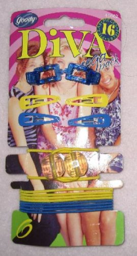 brand new set of blue and yellow Goody Mega Pack 15 Hair Accessories