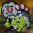 """Emoticon 3-D Magnet """" I WANT U to WORK HARD !!! """" fr emoticonislive.com"""