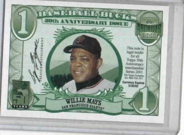 2001 Topps Baseball Buck Willie Mays San Francisco Giants Oddball