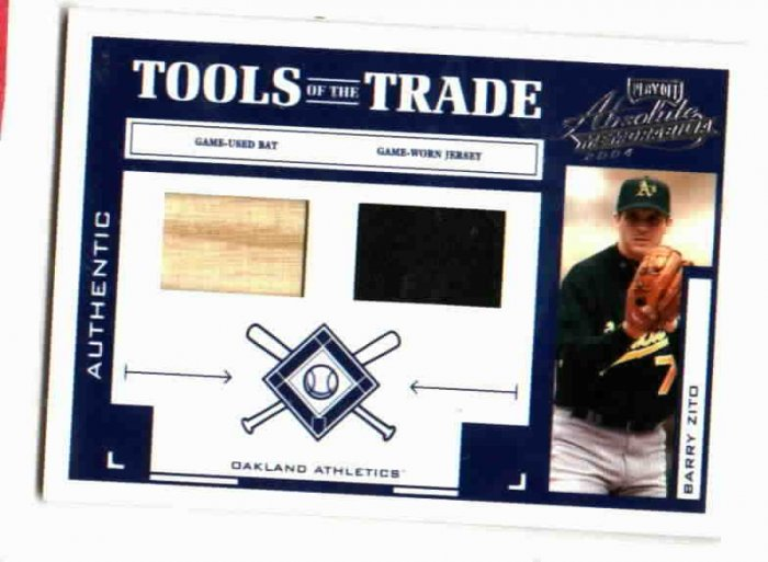 2004 Playoff Barry Zito Dual Game Used Bat / Jersey Card #D / 250 Oakland A's