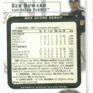 2002 Fleer Box Score Ben Howard Rookie Debut San Diego Padres #D / 2002