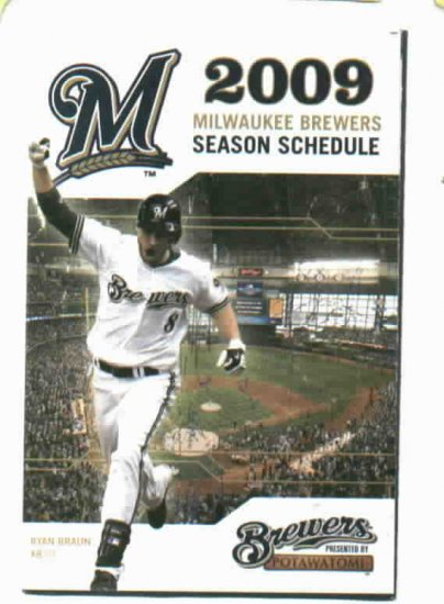 2009 Milwaukee Brewers Pocket Schedule Ryan Braun